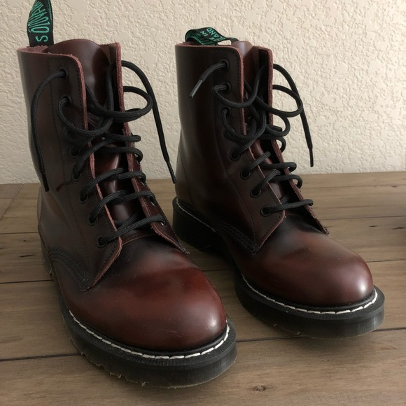 Solovair Shoes Unisex 8 Eye Burgundy Rub Combat Boots Poshmark